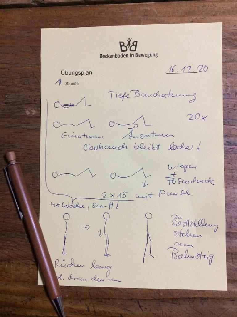handgeschriebener, individueller Trainingsplan