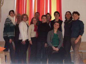 Teilnehmerinnen am Beckenboden-Alltagstraining für Hebammen