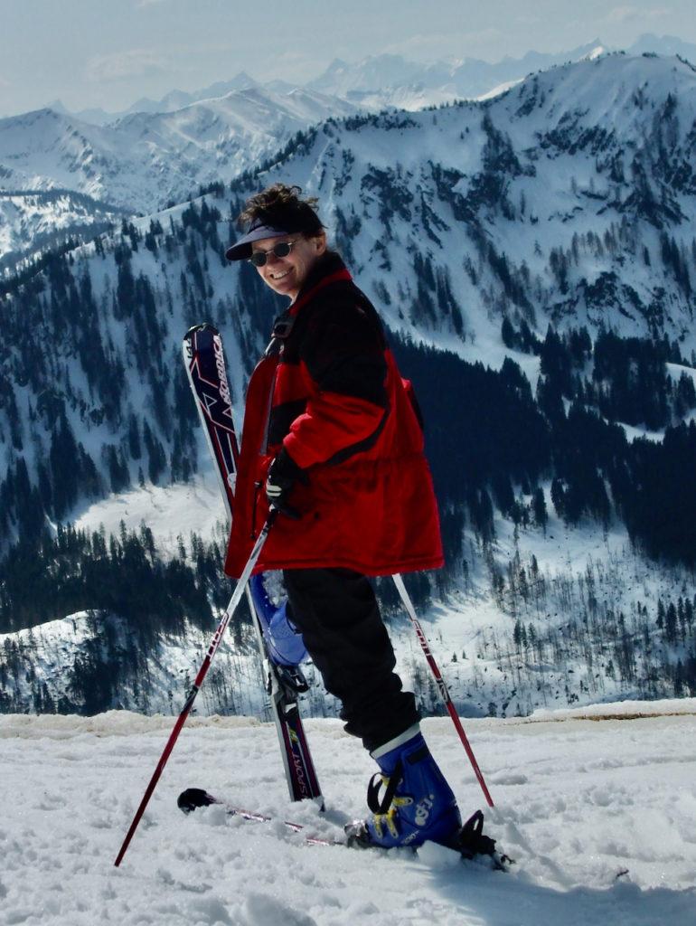 Irene kurz vor der Abfahrt - aktiver Beckenboden beim Skifahren?